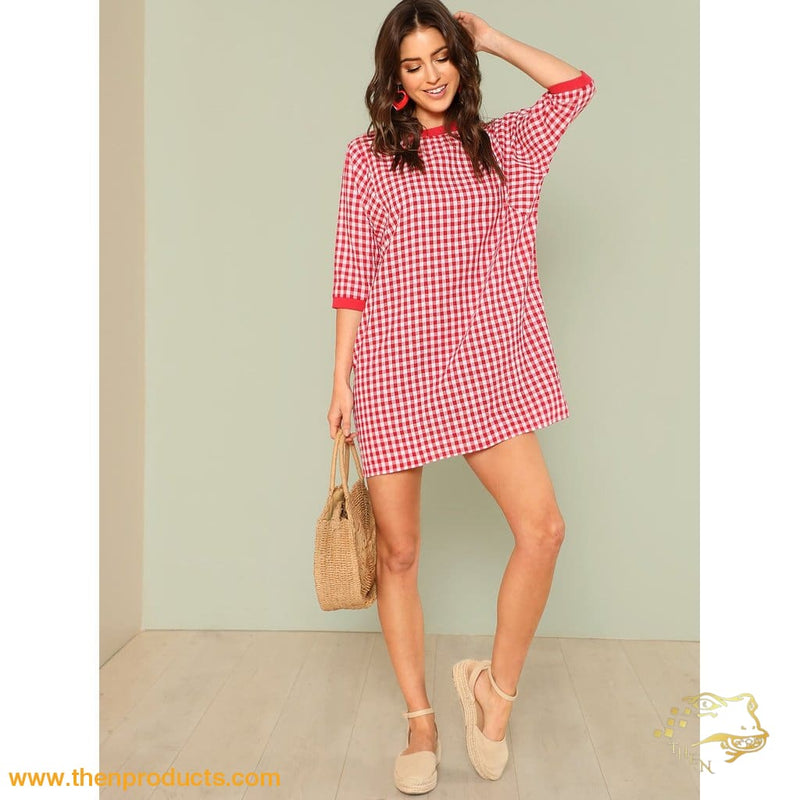 Red Dolman Sleeve Gingham Ringer Dress