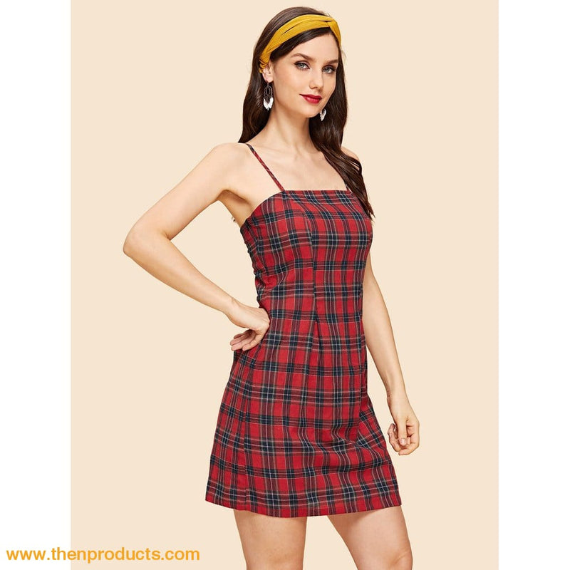 Red Plaid Print Slip Dress