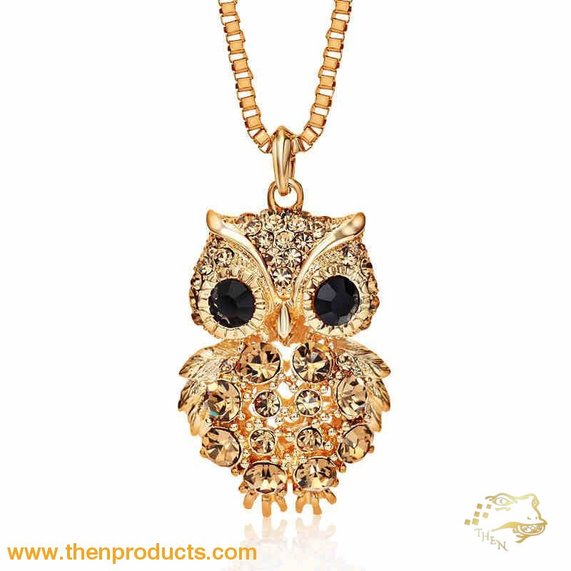 Retro Antique Alloy With Rhinestone Crystal Owl Long Necklace Gd Gold / One-Size Women - Jewelry