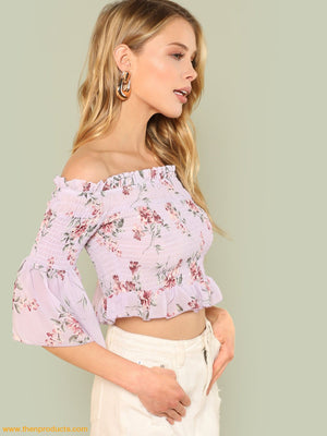 Ruffle Trim Shirred Bardot Crop Top Women - Apparel Shirt