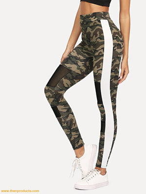 Side Panel Mesh Insert Camo Leggings Women - Apparel Shirt