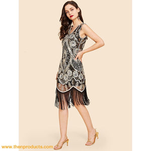 Silver Contrast Sequin Fringe Hem Dress