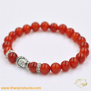 Silver Red Buddha Beaded Bracelet Unisex - Jewelry Bracelets