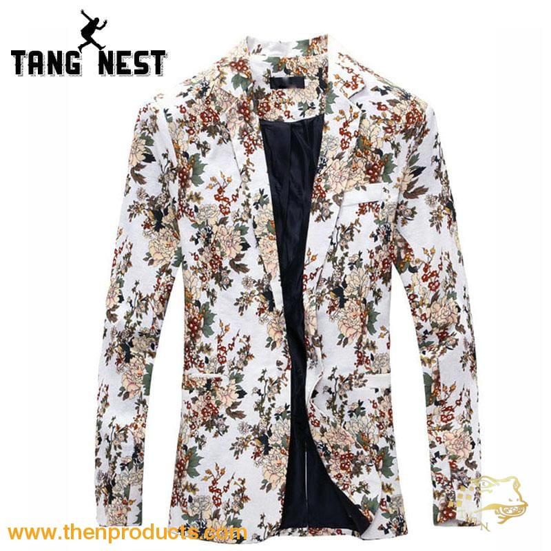 Tangnest Blazer Men 2018 Fashion Floral Personality Design Casual Terno Masculino Slim Comfortable