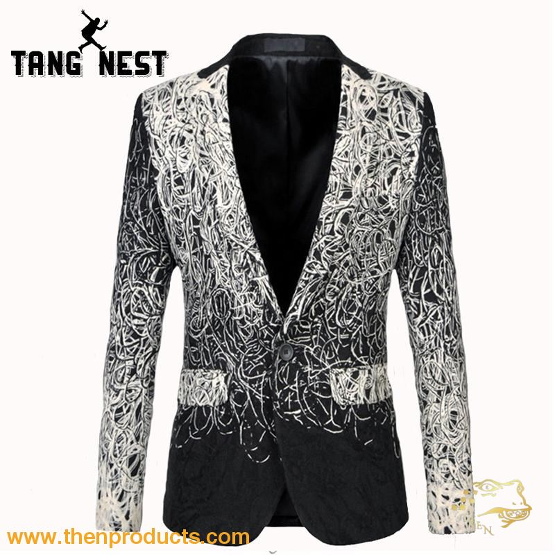 Tangnest Casual Men Blazers Single Button Pockets Blazer Masculino New Design Fashion Plus Asian