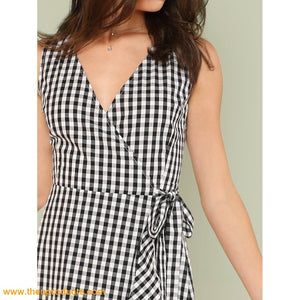 Tie Waist Gingham Dress