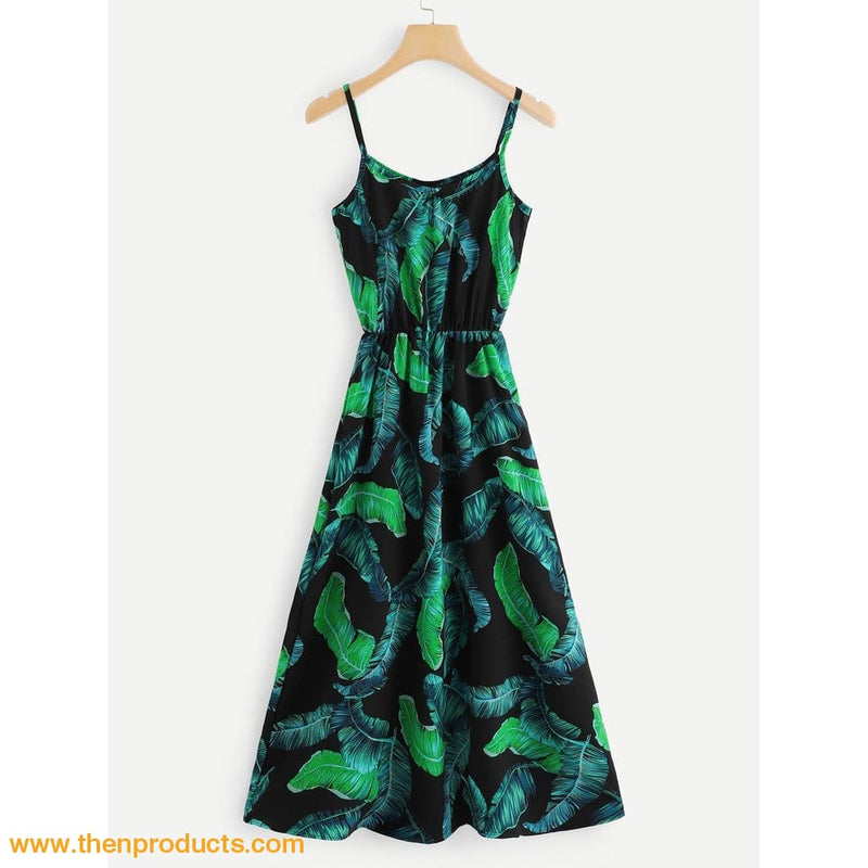 Tropical Print Cami Dress Women - Apparel Dresses Casual
