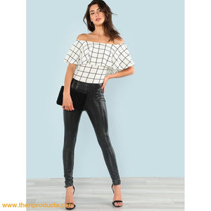 White & Black Ruffle Layered Neck Plaid Bodysuit