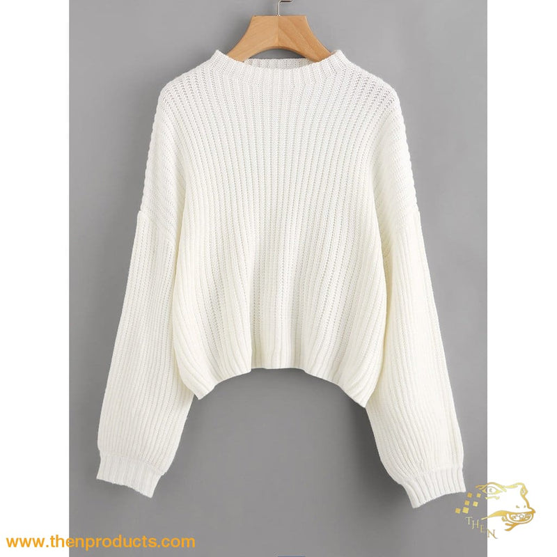 White Drop Shoulder Lantern Sleeve Jumper Women - Apparel Sweaters Pull Over