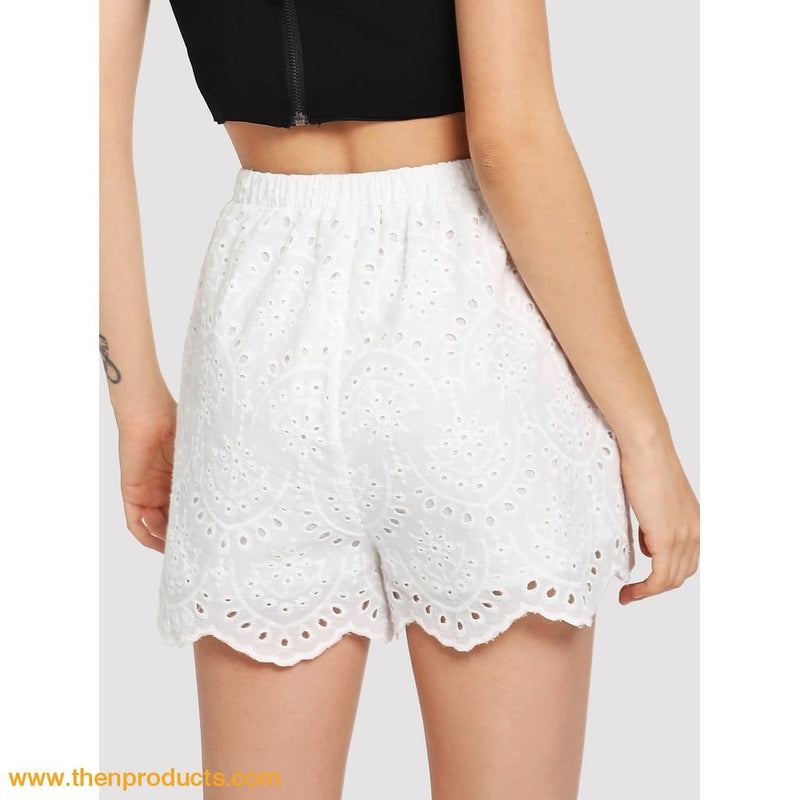 White Embroidered Scallop Edge Shorts Women - Apparel Shirt