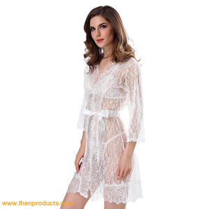 White Lace Robe Bra & Thong 3Pcs