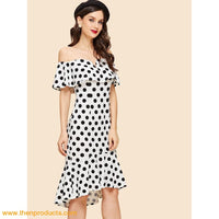 White Polka Dot Print Ruffle Trim Dress