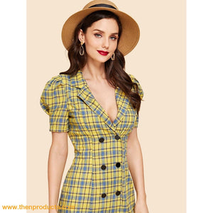 Yellow Double Button Collar Plaid Dress