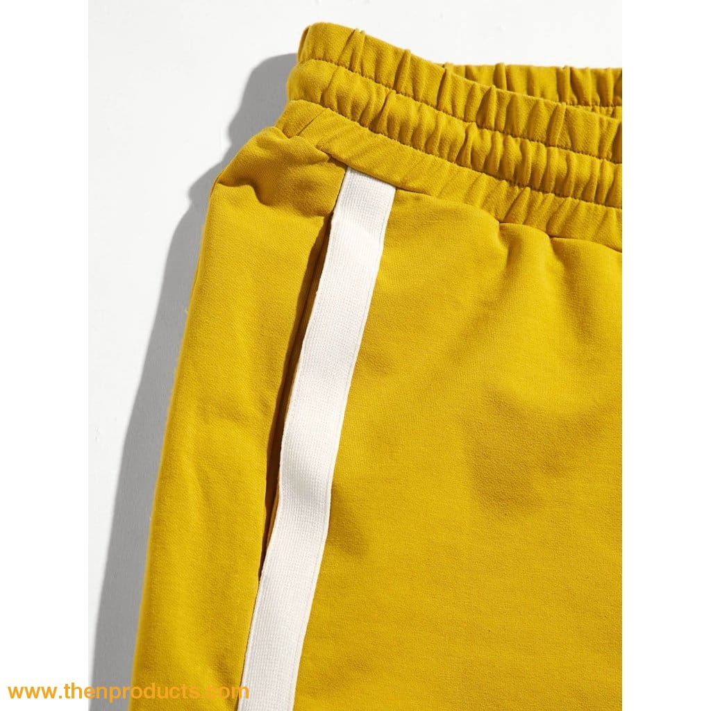 Yellow Men Tape Side Pocket Patched Shorts