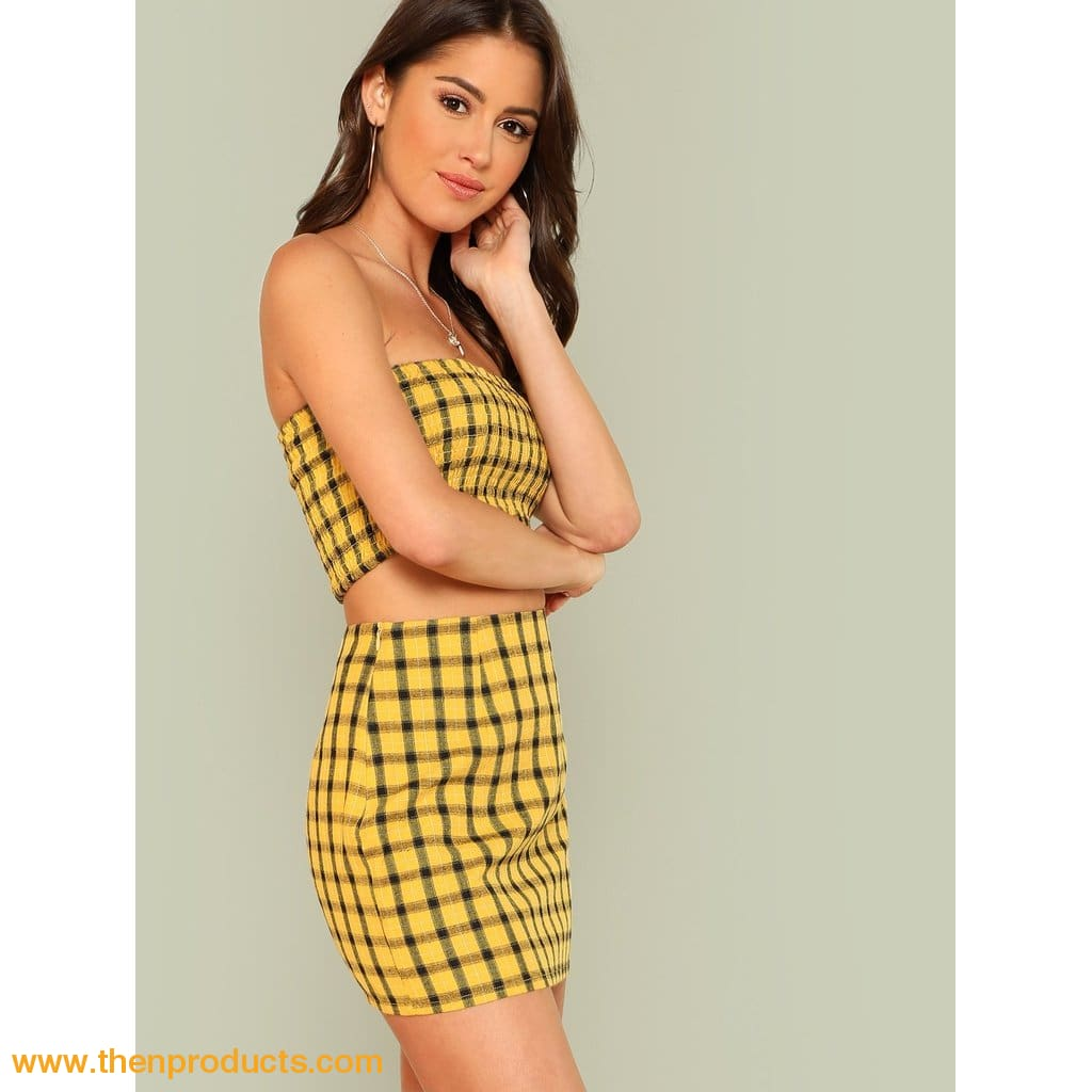 Yellow Plaid Print Shirred Strapless Crop Top And Skirt Set