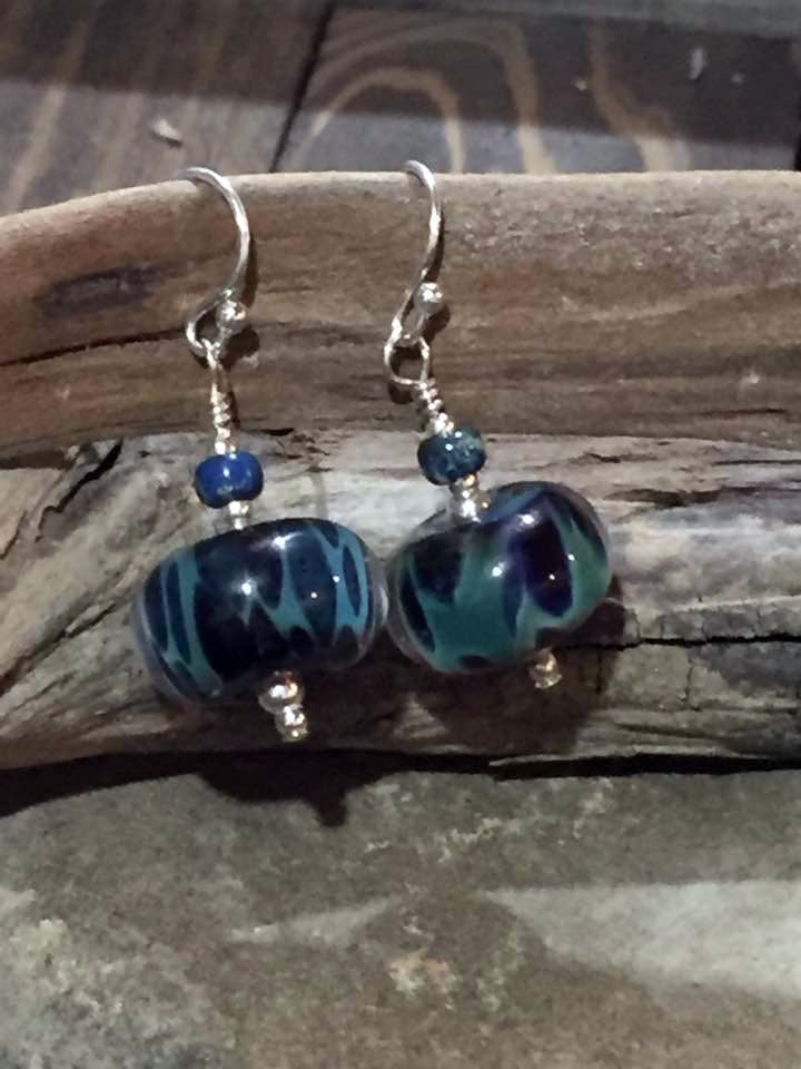 Glass and Sterling Silver Earrings