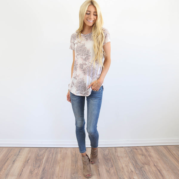 Kimi Floral Top in Ivory