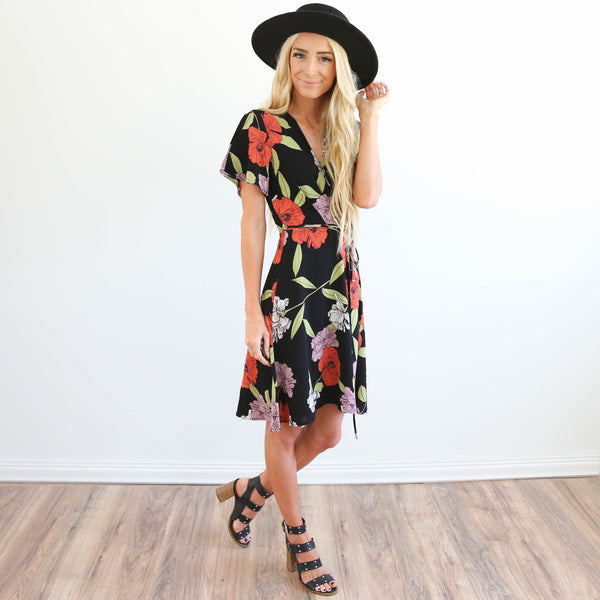 Tess Wrap Dress in Black