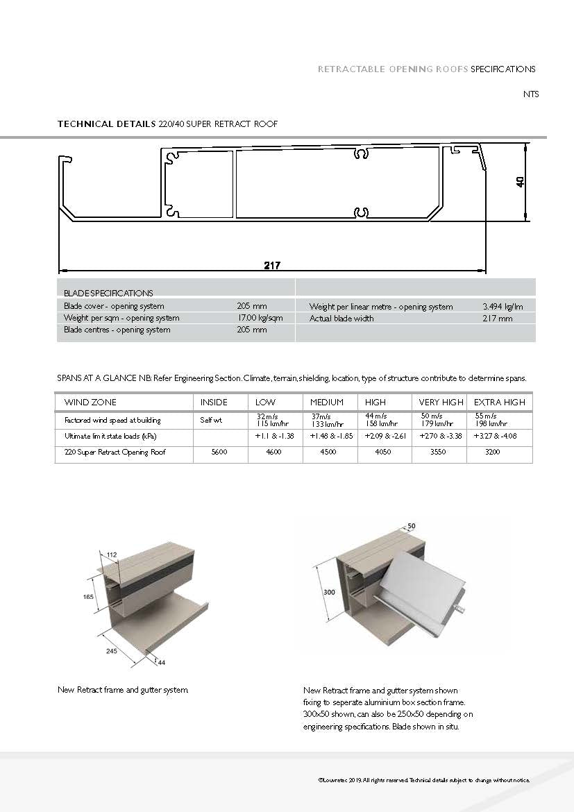 220/40 Super Retract Roof Specs & Spans