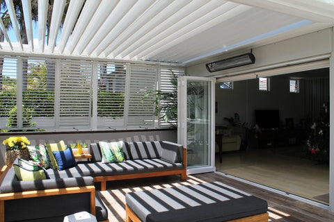 louvretec louvre blades opening slightly to outdoor room