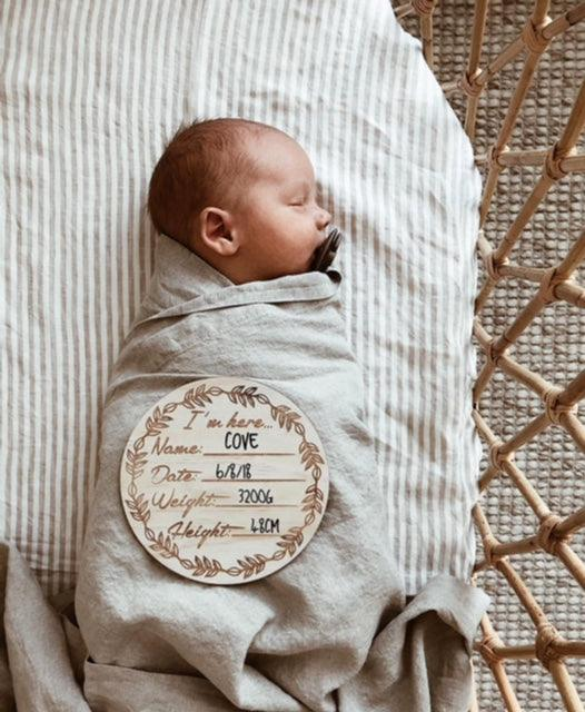 "Wooden ""I'm here' birth announcement disc"