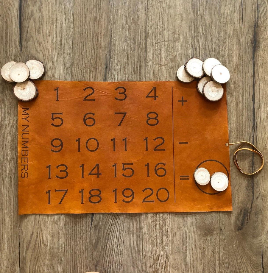 Leather number leather board | TAN