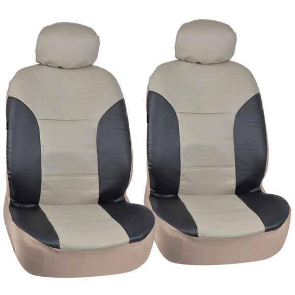 FULL Luxury 2Tone Geniune PU Leather 4pc Seat Covers - RealSeatCovers