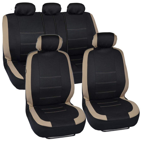 Semi Custom Flat Cloth Full Combo Seat Covers Airbag Safe Full Set - RealSeatCovers