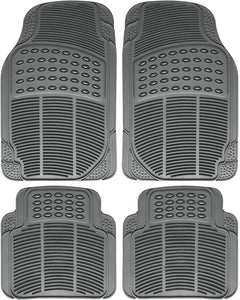All Weather Heavy Duty Rubber Floor Mats Semi Custom 4pc Set - RealSeatCovers