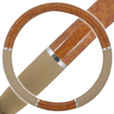Premium Grain Chrome Stripe Burl Wood Beige Steering Wheel Cover - RealSeatCovers