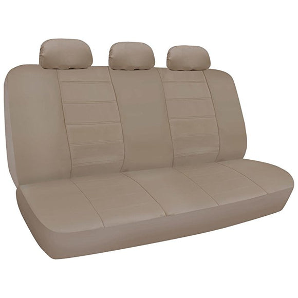 A36 Premium 12mm Rear Bench PU Leather Seat Covers 3 Headrests - RealSeatCovers