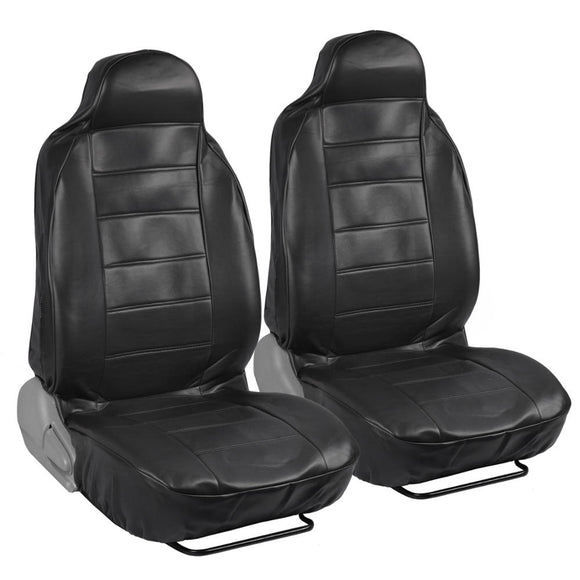 FULL Geniune PU Leather Front 2 High Back Bucket Seat Covers - RealSeatCovers
