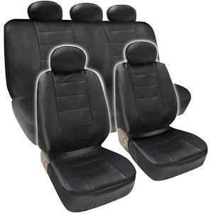 Full Front Bucket Rear Bench 9pc Combo PU Leather Seat Cover Set - RealSeatCovers