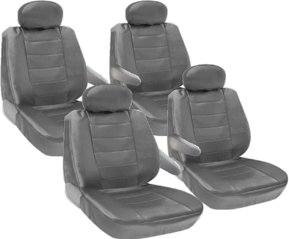 8pc 2 Row 12mm Thick Genuine PU Leather Seat Covers for VAN - RealSeatCovers
