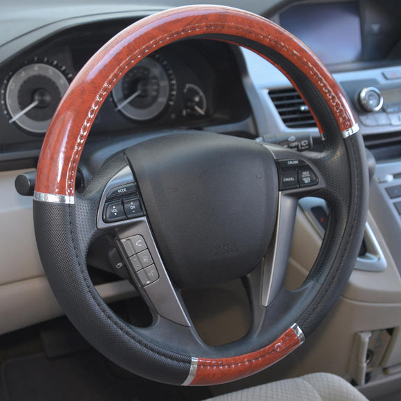 Grain Design Chrome Stripe Dark Wood Black Steering Wheel Cover - RealSeatCovers