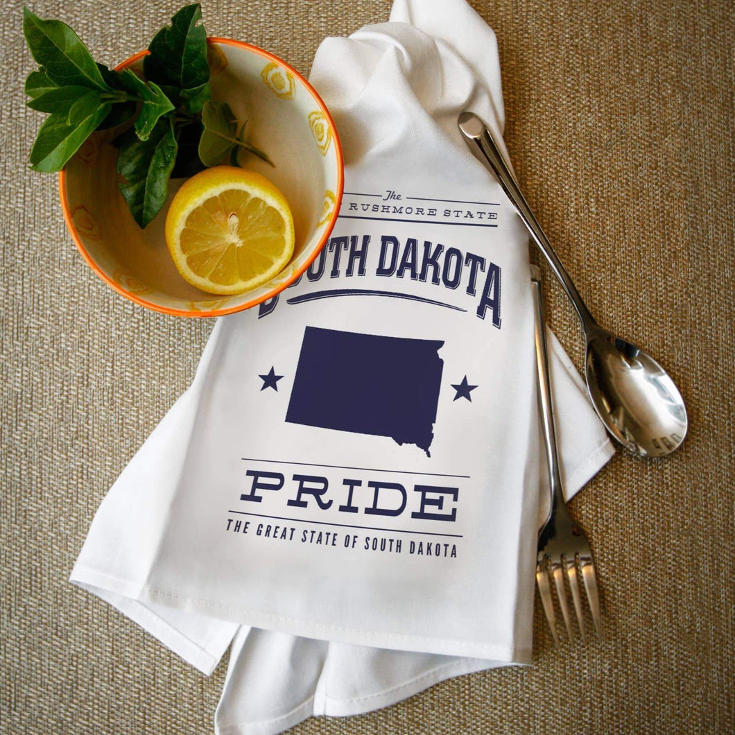 TOWEL South Dakota State Pride Blue on White
