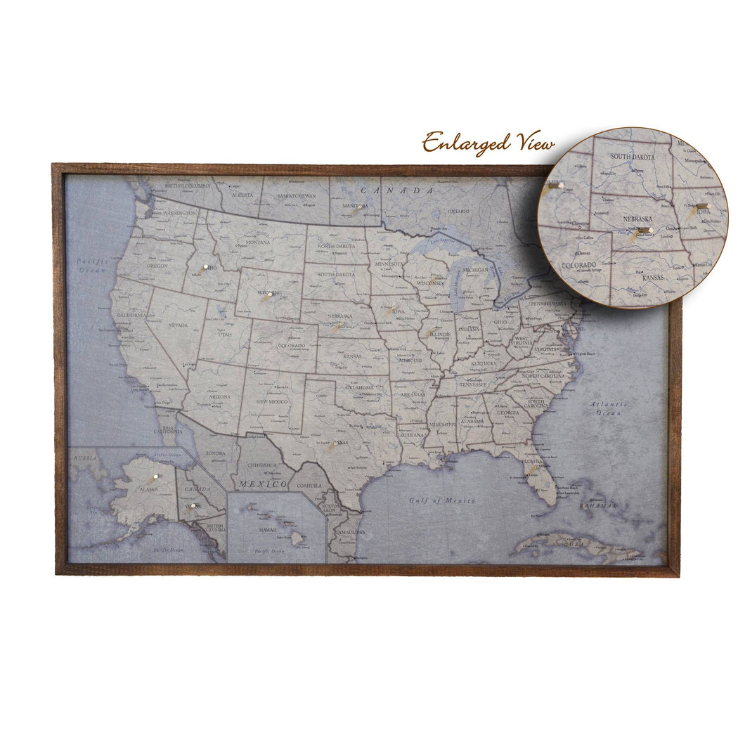 Antique Tan Magnetic USA Map