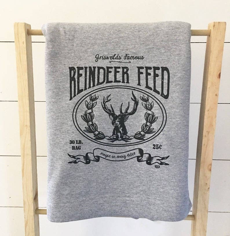 Reindeer Feed Sweatshirt Blanket