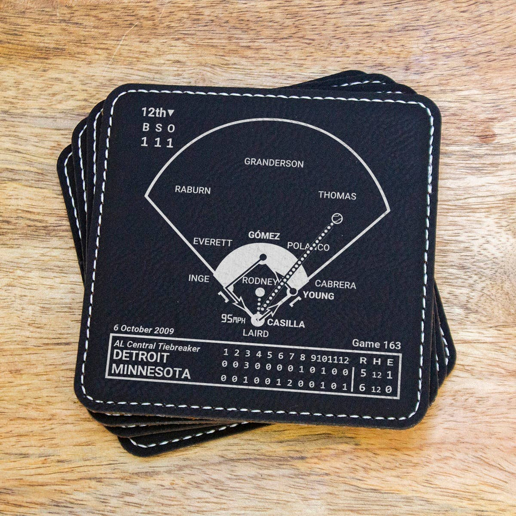 Greatest Twins Plays - Leatherette Coasters - Set of 4