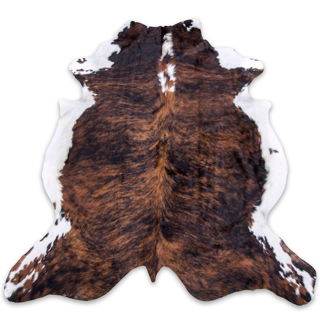 Brindle with white belly cowhide rug Large