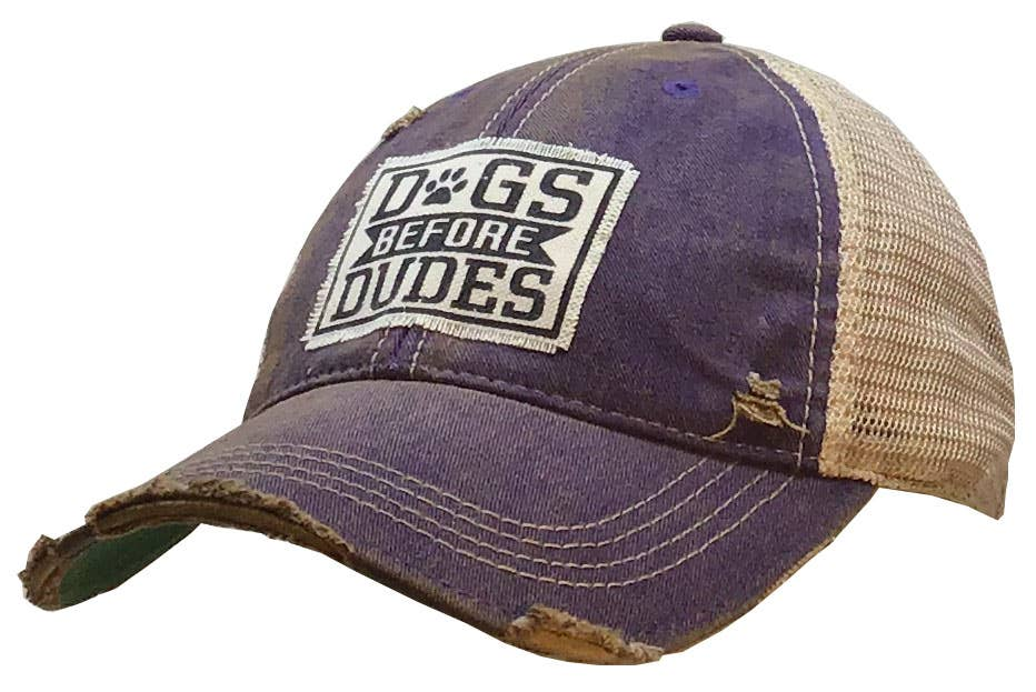 Dogs Before Dudes Distressed Trucker Hat Baseball Cap