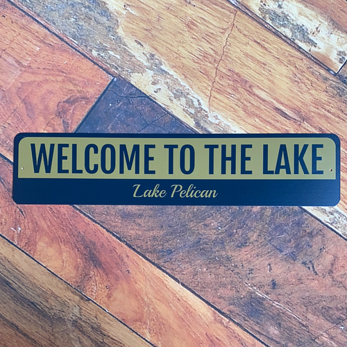 Vintage Lake Pelican Welcome Sign