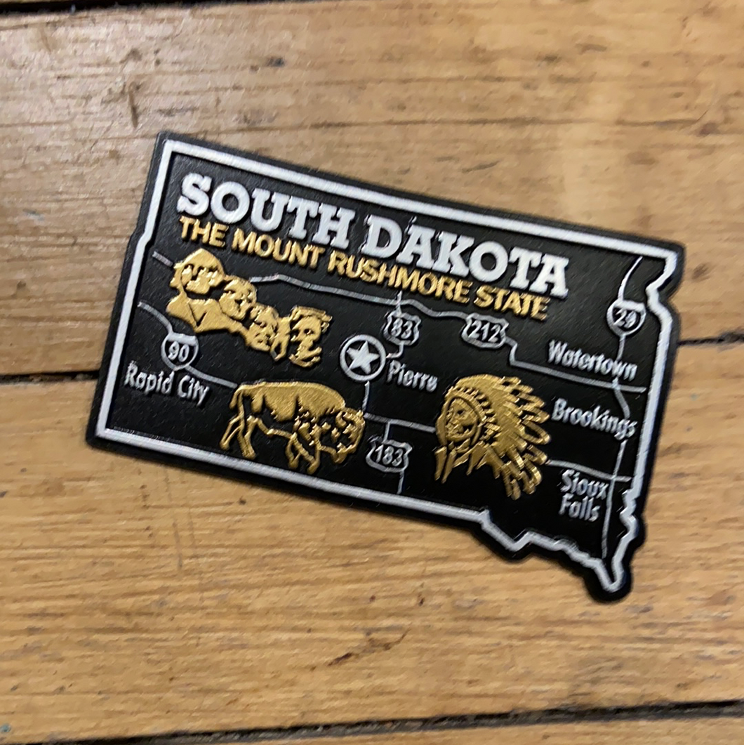 South Dakota Black Large Map Magnet