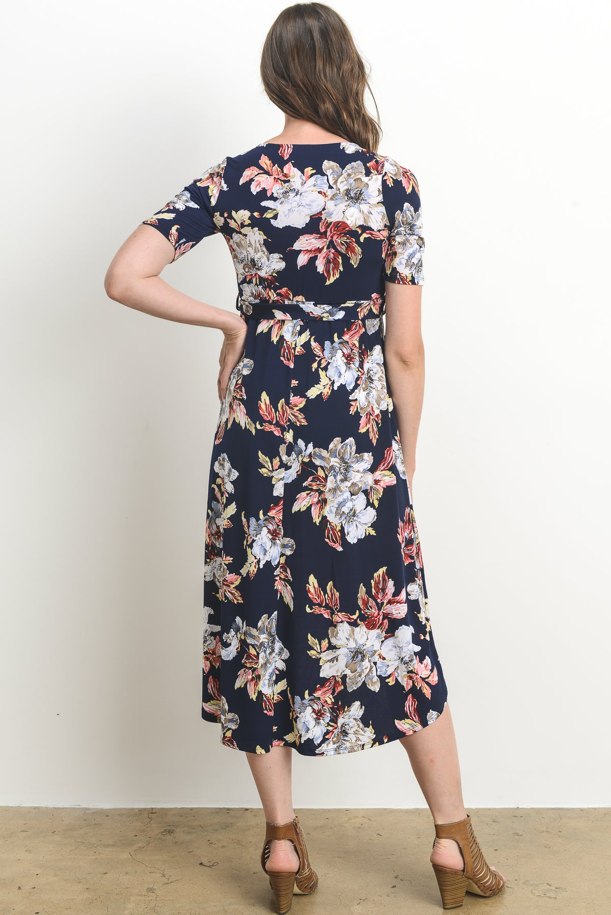 Floral Maternity & Nursing High Low Dress