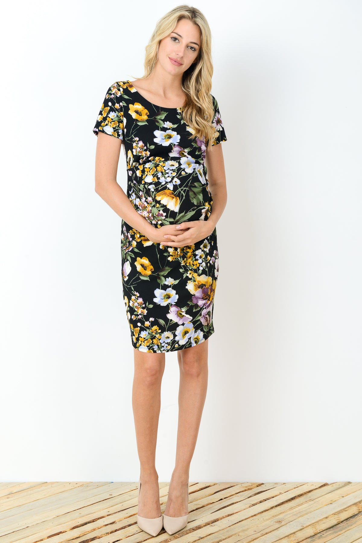 Floral Maternity Sheath Dress by Hello Miz