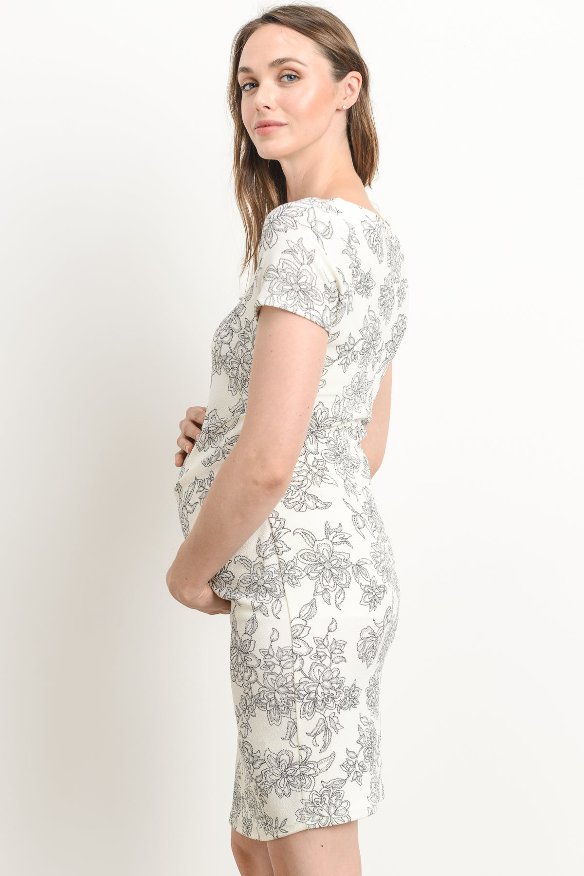 FLORAL Side-Pleat Maternity Dress