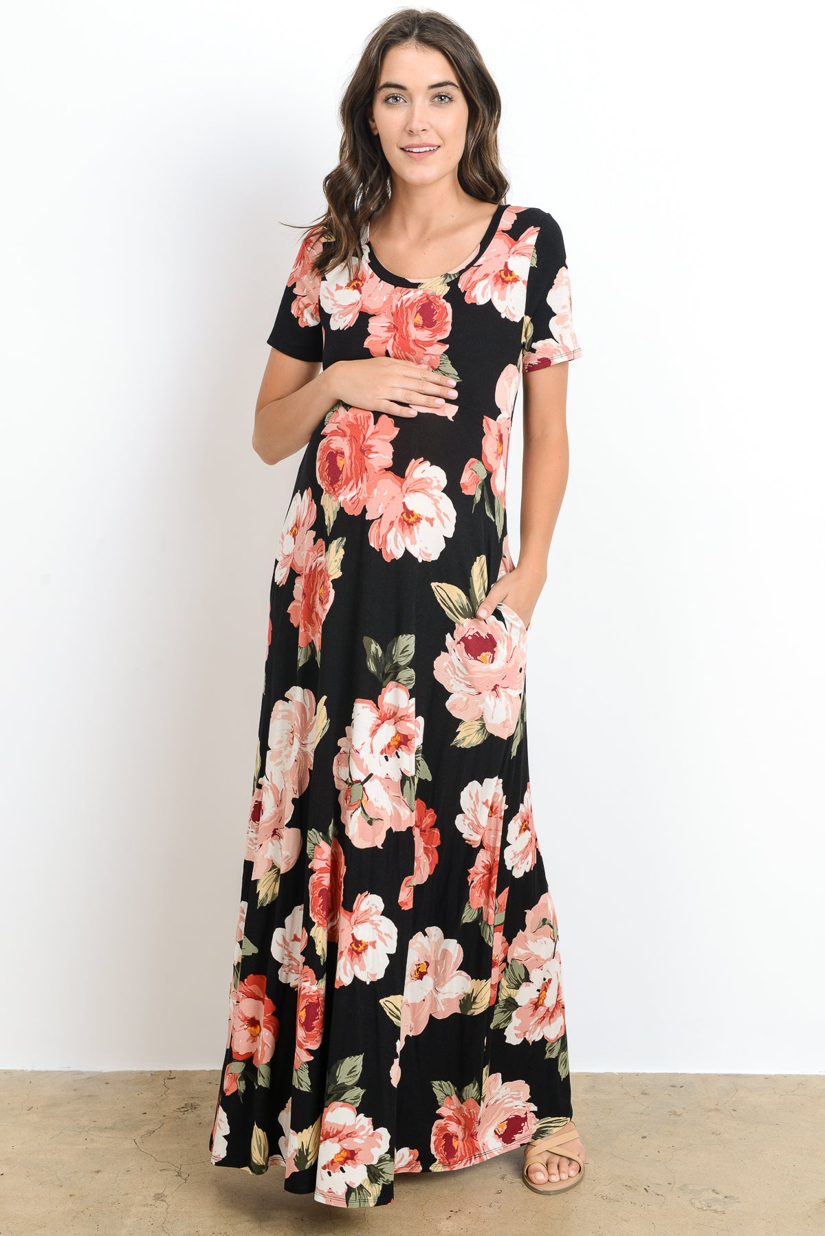 Floral Side Pocket Maternity Maxi Dress by Hello Miz