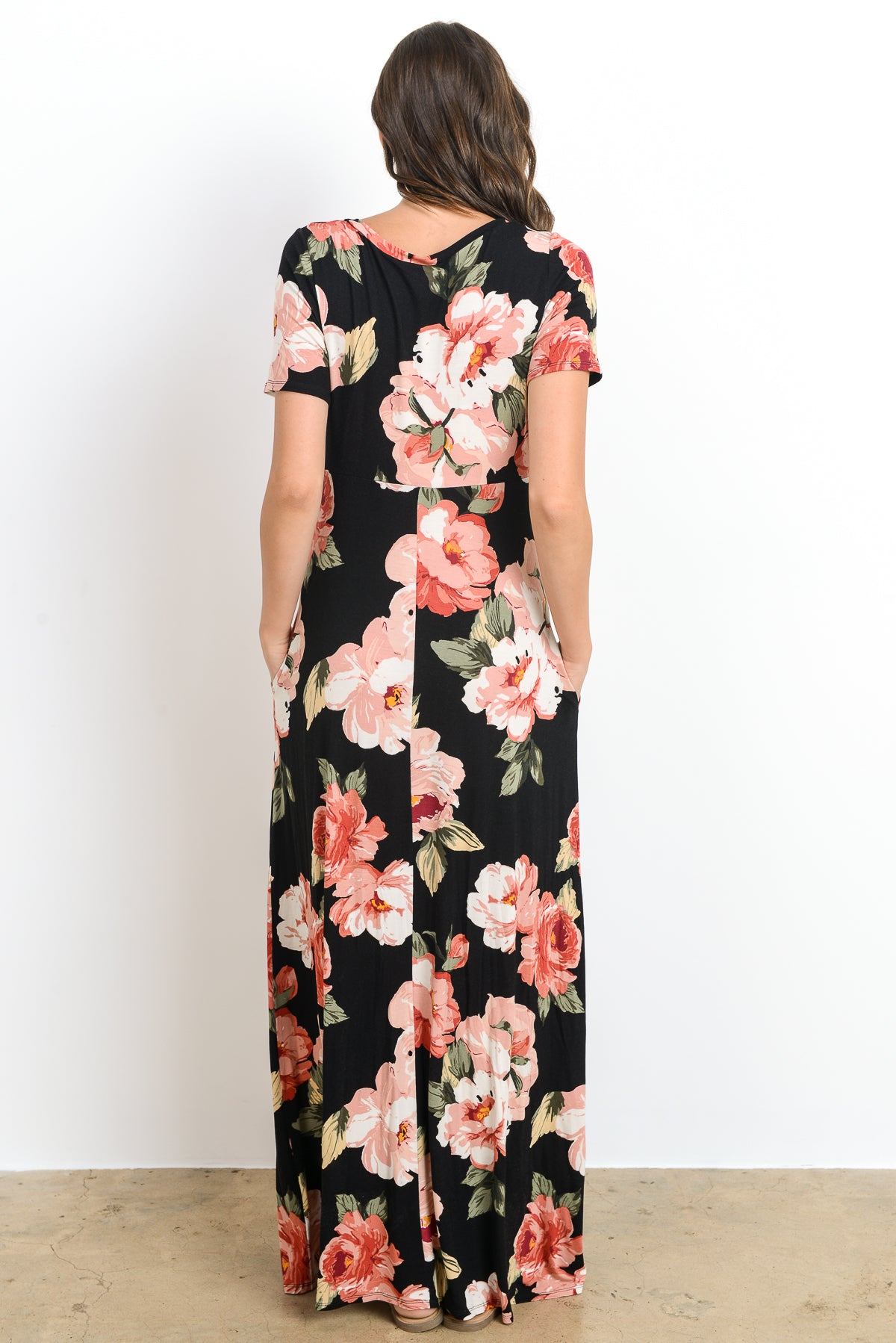 Floral Side Pocket Maternity Maxi Dress