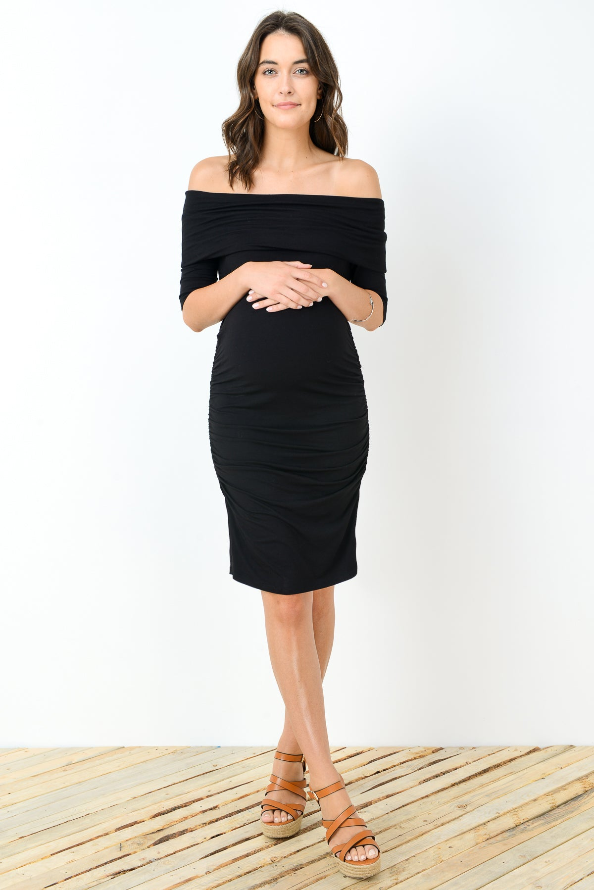 Maternity Off-Shoulder Dress by Hello Miz