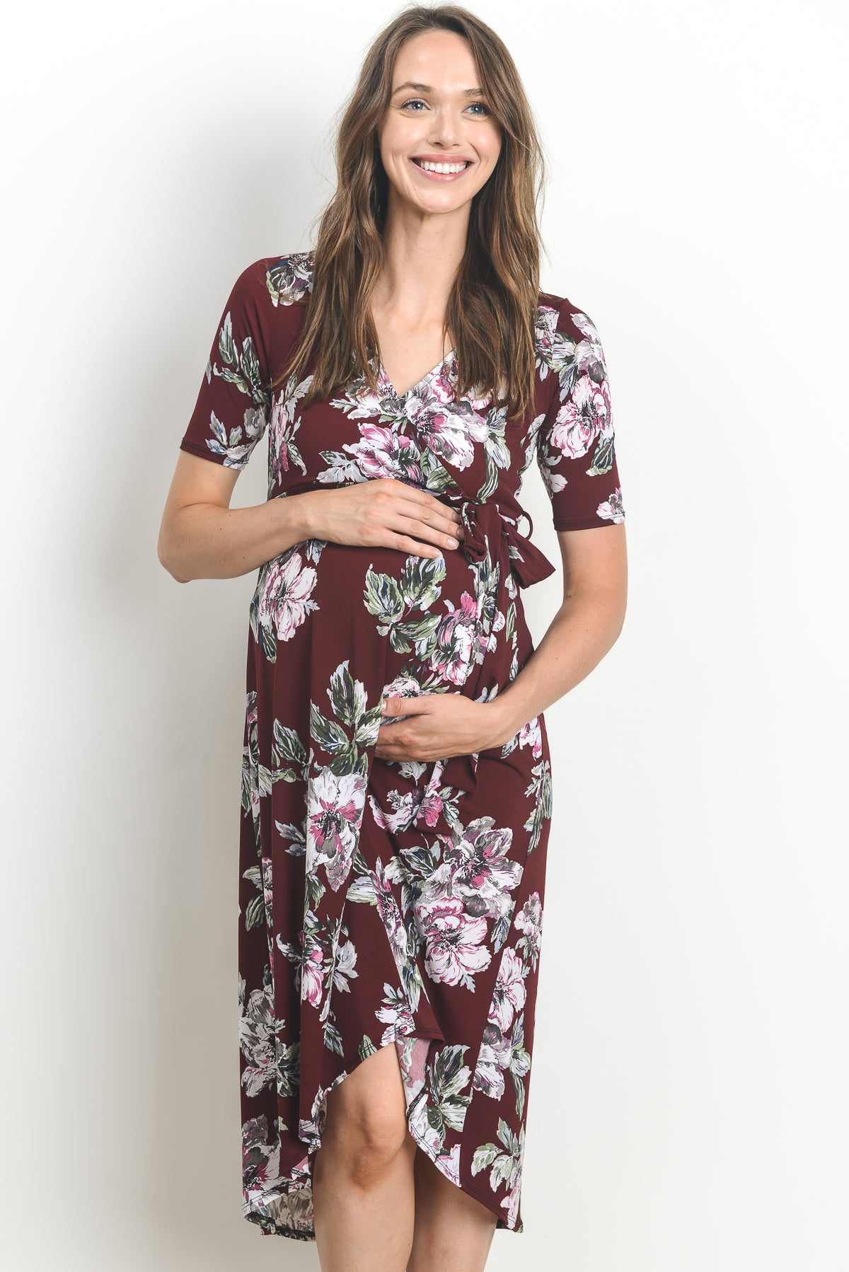 Floral Maternity & Nursing High Low Dress by Hello Miz